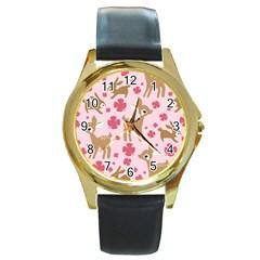 Preety Deer Cute Round Gold Metal Watch