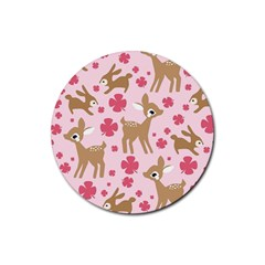 Preety Deer Cute Rubber Coaster (round)