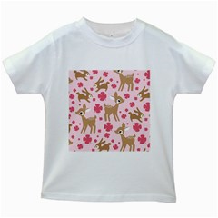Preety Deer Cute Kids White T Shirts