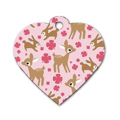 Preety Deer Cute Dog Tag Heart (Two Sides)