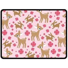 Preety Deer Cute Fleece Blanket (large)
