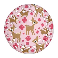 Preety Deer Cute Round Filigree Ornament (Two Sides)