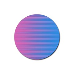 Turquoise Pink Stripe Light Blue Rubber Round Coaster (4 pack)