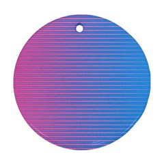 Turquoise Pink Stripe Light Blue Round Ornament (Two Sides)