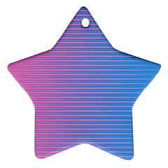 Turquoise Pink Stripe Light Blue Star Ornament (Two Sides)