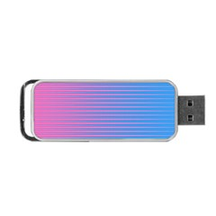 Turquoise Pink Stripe Light Blue Portable USB Flash (One Side)