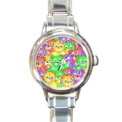 Cute Cartoon Crowd Of Colourful Kids Bears Round Italian Charm Watch