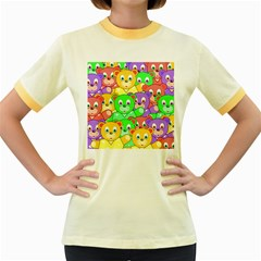 Cute Cartoon Crowd Of Colourful Kids Bears Women s Fitted Ringer T Shirts