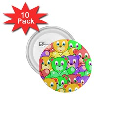Cute Cartoon Crowd Of Colourful Kids Bears 1 75  Buttons (10 Pack)