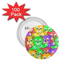 Cute Cartoon Crowd Of Colourful Kids Bears 1 75  Buttons (100 Pack)