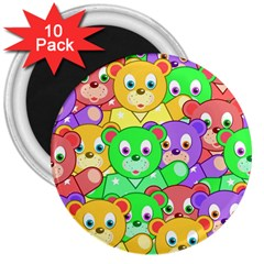 Cute Cartoon Crowd Of Colourful Kids Bears 3  Magnets (10 Pack)