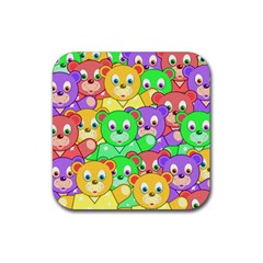 Cute Cartoon Crowd Of Colourful Kids Bears Rubber Square Coaster (4 Pack)