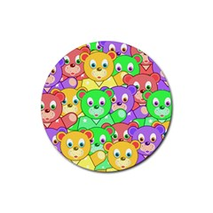 Cute Cartoon Crowd Of Colourful Kids Bears Rubber Coaster (round)