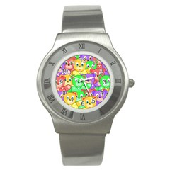 Cute Cartoon Crowd Of Colourful Kids Bears Stainless Steel Watch
