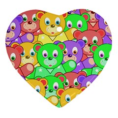 Cute Cartoon Crowd Of Colourful Kids Bears Heart Ornament (two Sides)