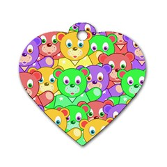 Cute Cartoon Crowd Of Colourful Kids Bears Dog Tag Heart (Two Sides)