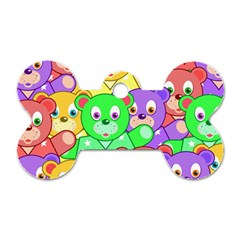 Cute Cartoon Crowd Of Colourful Kids Bears Dog Tag Bone (Two Sides)