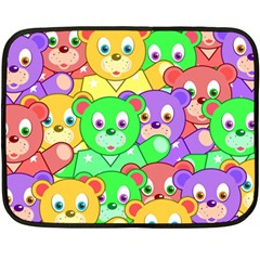 Cute Cartoon Crowd Of Colourful Kids Bears Double Sided Fleece Blanket (Mini)
