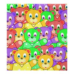 Cute Cartoon Crowd Of Colourful Kids Bears Shower Curtain 66  X 72  (large)