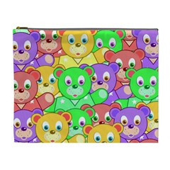 Cute Cartoon Crowd Of Colourful Kids Bears Cosmetic Bag (XL)