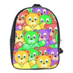 Cute Cartoon Crowd Of Colourful Kids Bears School Bags(Large)