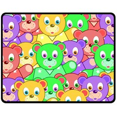 Cute Cartoon Crowd Of Colourful Kids Bears Fleece Blanket (medium)