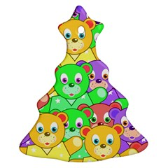 Cute Cartoon Crowd Of Colourful Kids Bears Christmas Tree Ornament (Two Sides)