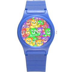 Cute Cartoon Crowd Of Colourful Kids Bears Round Plastic Sport Watch (s)