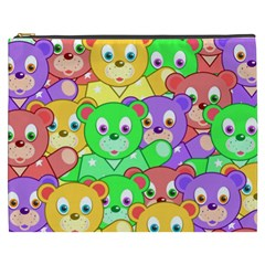 Cute Cartoon Crowd Of Colourful Kids Bears Cosmetic Bag (xxxl)