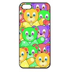 Cute Cartoon Crowd Of Colourful Kids Bears Apple Iphone 5 Seamless Case (black)
