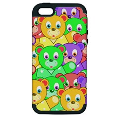 Cute Cartoon Crowd Of Colourful Kids Bears Apple Iphone 5 Hardshell Case (pc+silicone)