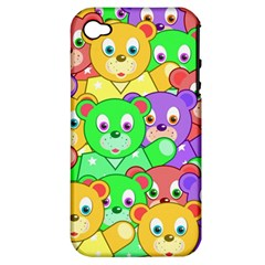 Cute Cartoon Crowd Of Colourful Kids Bears Apple Iphone 4/4s Hardshell Case (pc+silicone)