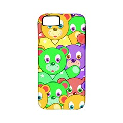 Cute Cartoon Crowd Of Colourful Kids Bears Apple Iphone 5 Classic Hardshell Case (pc+silicone)