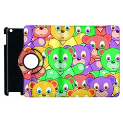 Cute Cartoon Crowd Of Colourful Kids Bears Apple Ipad 2 Flip 360 Case