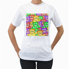Cute Cartoon Crowd Of Colourful Kids Bears Women s T Shirt (white)
