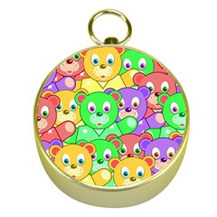 Cute Cartoon Crowd Of Colourful Kids Bears Gold Compasses