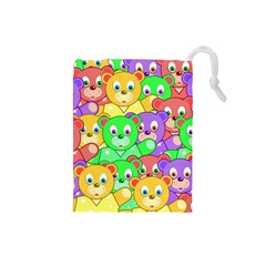 Cute Cartoon Crowd Of Colourful Kids Bears Drawstring Pouches (small)