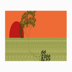 Sunset Orange Green Tree Sun Red Polka Small Glasses Cloth (2 Side)
