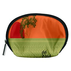 Sunset Orange Green Tree Sun Red Polka Accessory Pouches (medium)