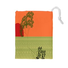Sunset Orange Green Tree Sun Red Polka Drawstring Pouches (Large)