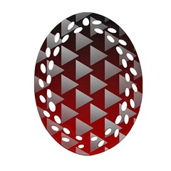 Netflix Play Button Pattern Oval Filigree Ornament (two Sides)