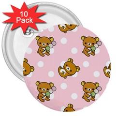 Kawaii Bear Pattern 3  Buttons (10 Pack)
