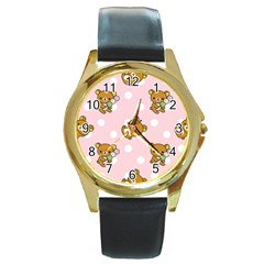 Kawaii Bear Pattern Round Gold Metal Watch