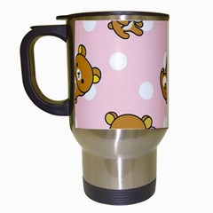 Kawaii Bear Pattern Travel Mugs (white)