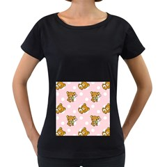 Kawaii Bear Pattern Women s Loose-Fit T-Shirt (Black)
