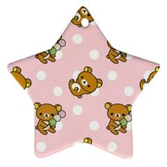 Kawaii Bear Pattern Star Ornament (Two Sides)