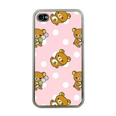 Kawaii Bear Pattern Apple Iphone 4 Case (clear)