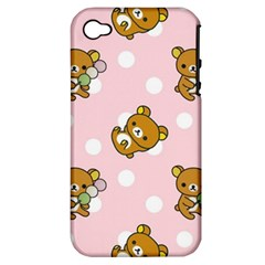 Kawaii Bear Pattern Apple Iphone 4/4s Hardshell Case (pc+silicone)