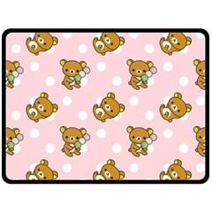 Kawaii Bear Pattern Double Sided Fleece Blanket (large)