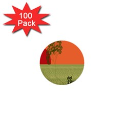 Sunset Orange Green Tree Sun Red Polka 1  Mini Buttons (100 pack)